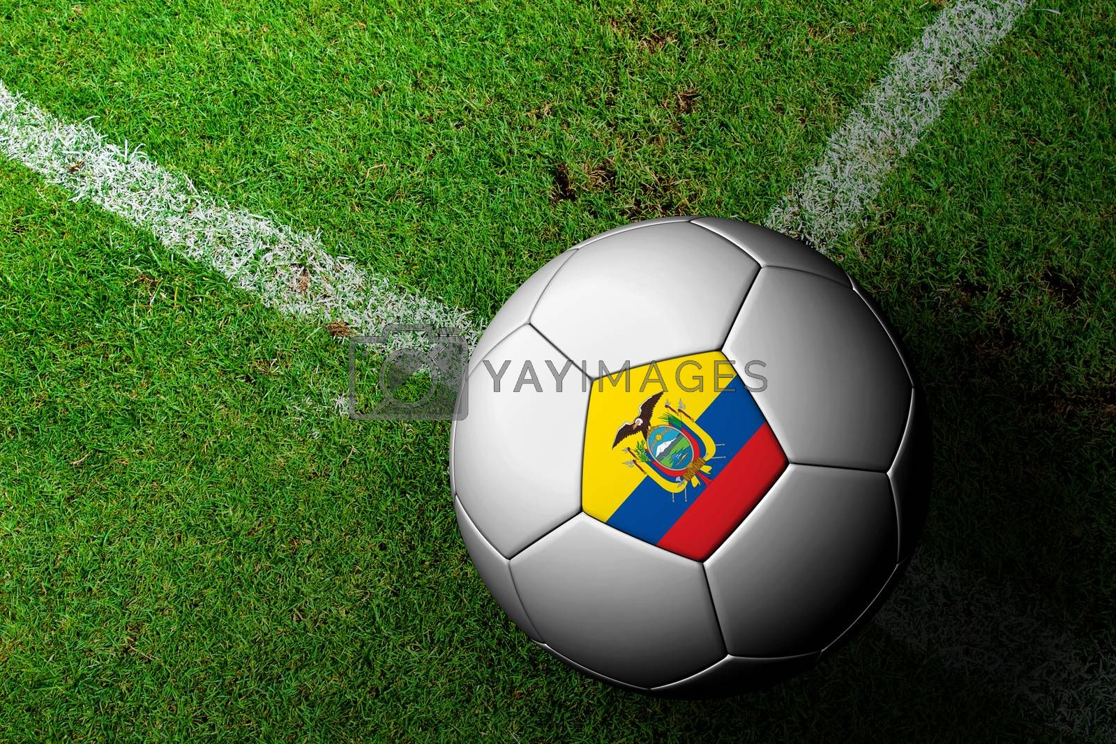 Ecuador Flag Pattern of a soccer ball in green grass by jakgree