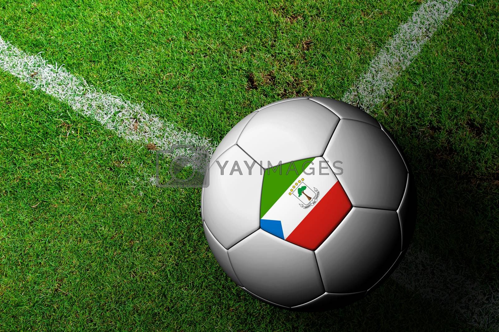 Equatorial Guinea Flag Pattern of a soccer ball in green grass by jakgree