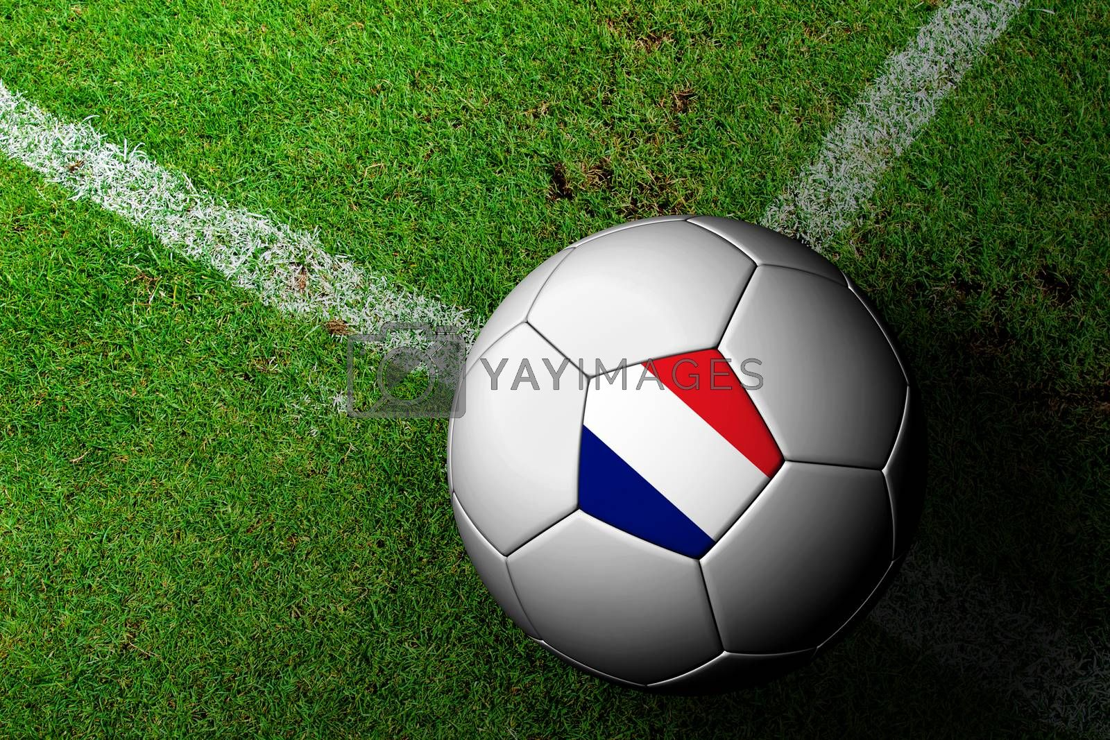 France Flag Pattern of a soccer ball in green grass by jakgree
