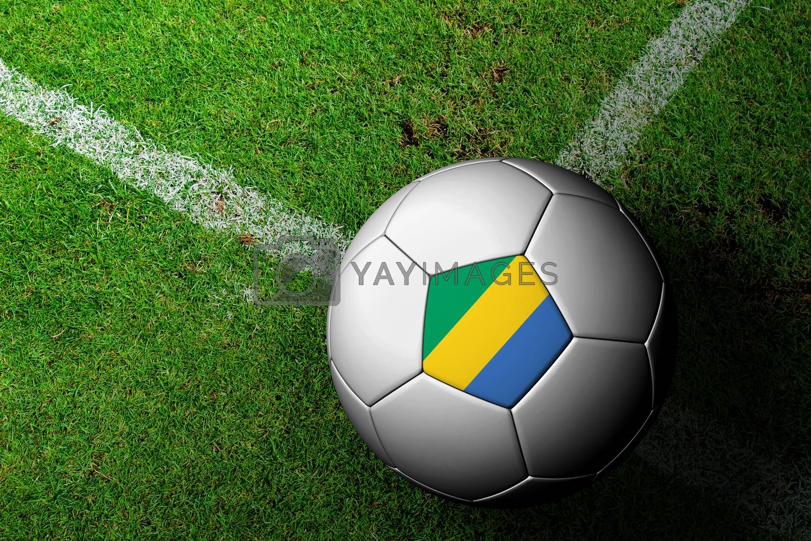 Gabon Flag Pattern of a soccer ball in green grass by jakgree