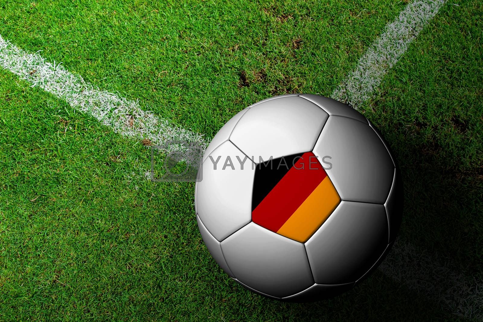 Germany Flag Pattern of a soccer ball in green grass by jakgree