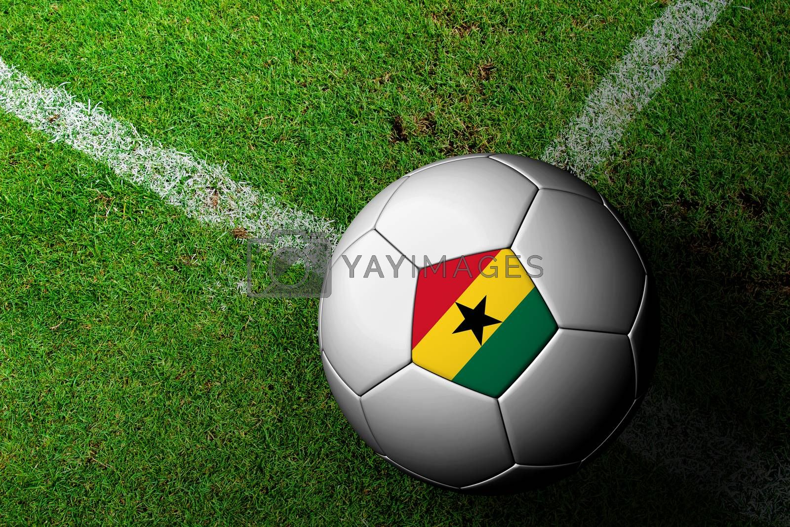 Ghana Flag Pattern of a soccer ball in green grass by jakgree
