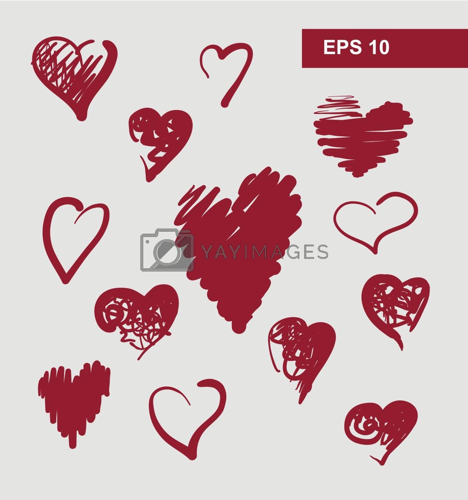 vector hearts set for wedding and valentine design by OlgaBerlet