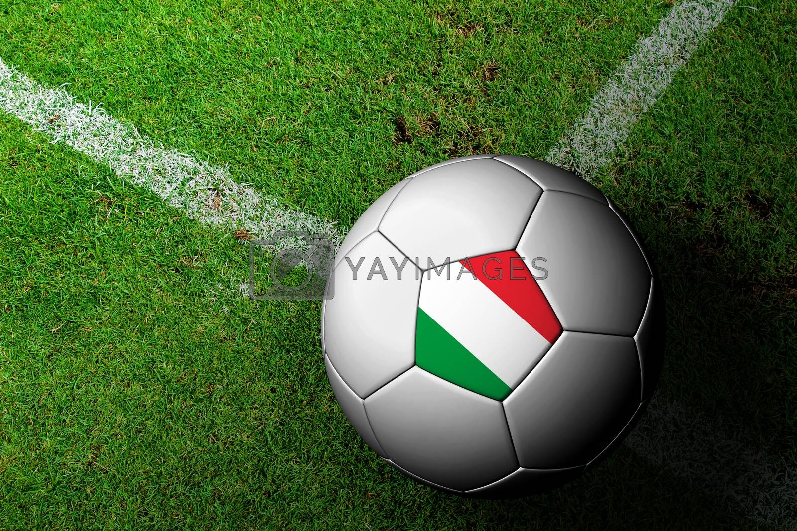 Italy Flag Pattern of a soccer ball in green grass by jakgree
