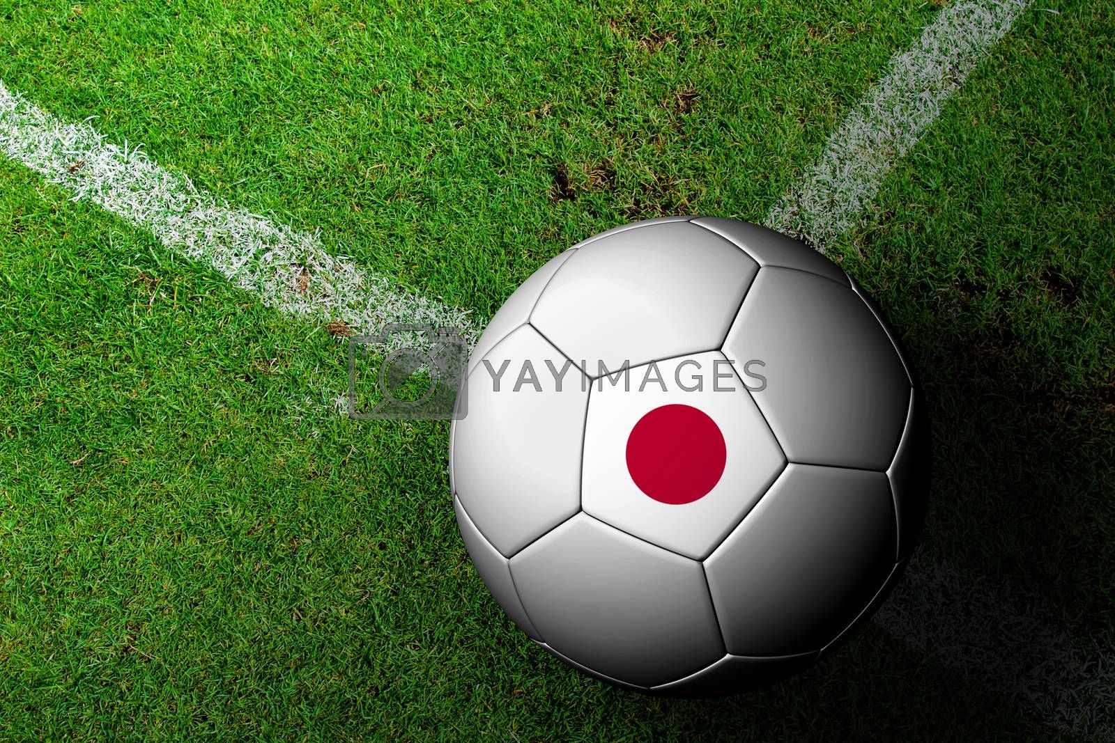 Japan Flag Pattern of a soccer ball in green grass by jakgree