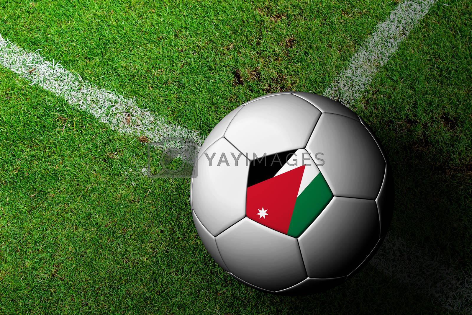 Jordan Flag Pattern of a soccer ball in green grass by jakgree