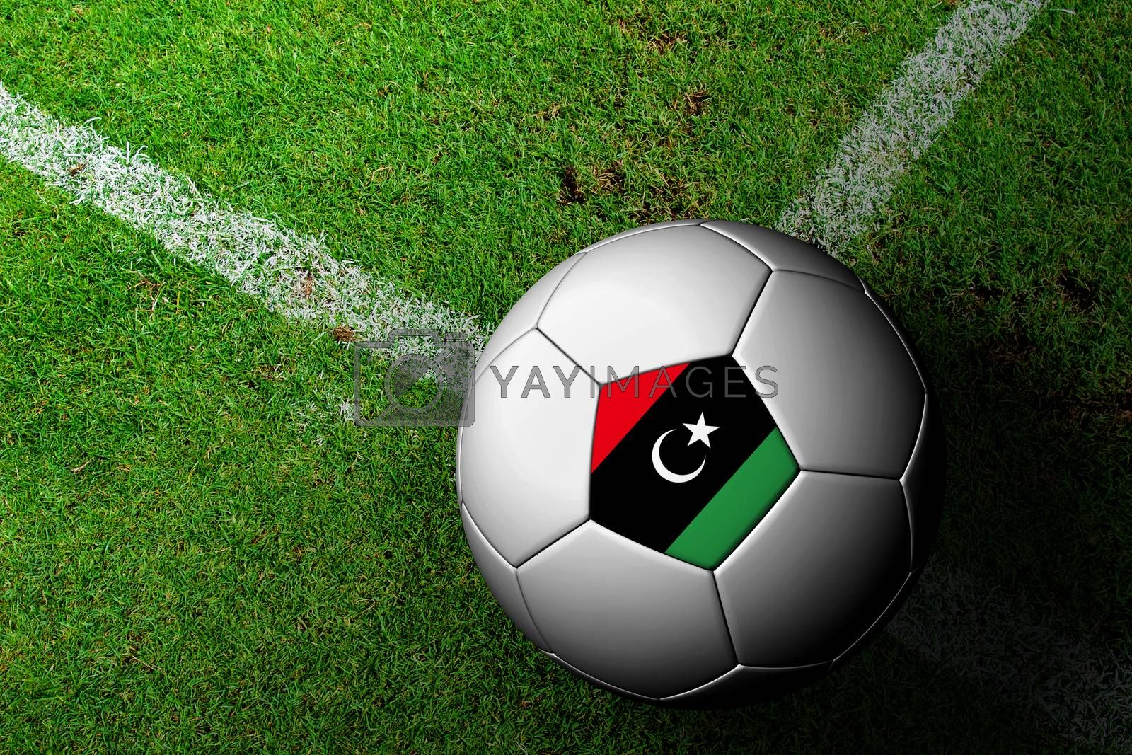 Libya Flag Pattern of a soccer ball in green grass by jakgree