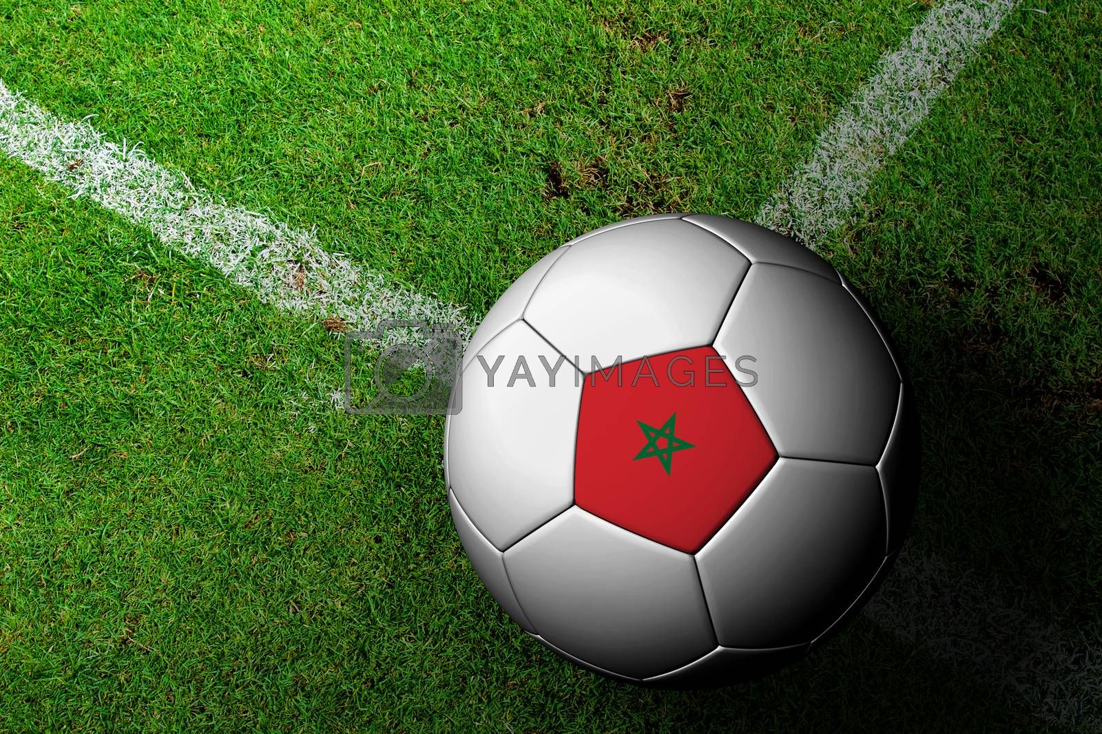 Morocco Flag Pattern of a soccer ball in green grass by jakgree