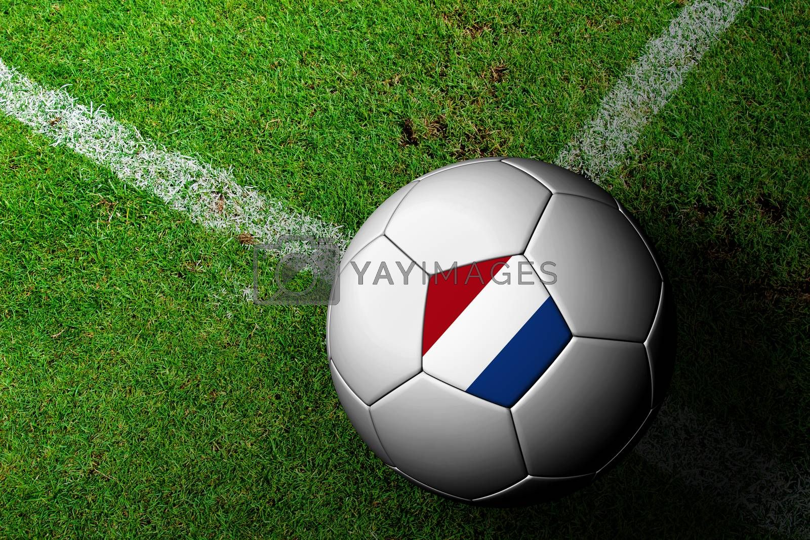 Netherlands Flag Pattern of a soccer ball in green grass by jakgree