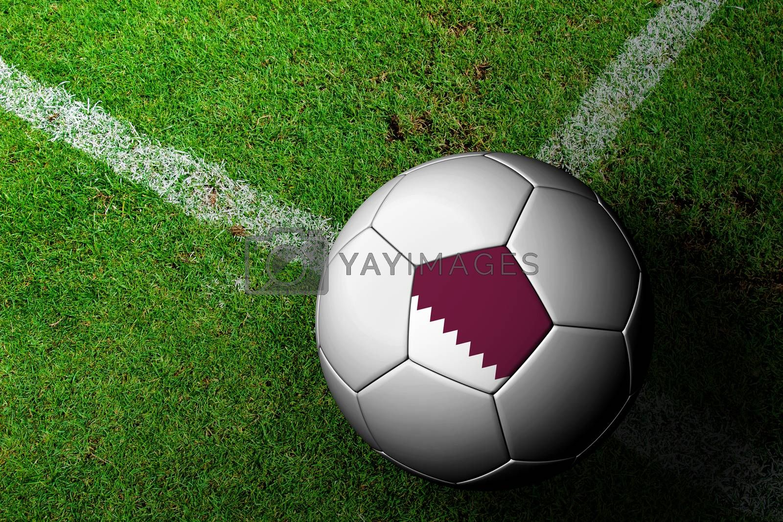 Qatar Flag Pattern of a soccer ball in green grass by jakgree