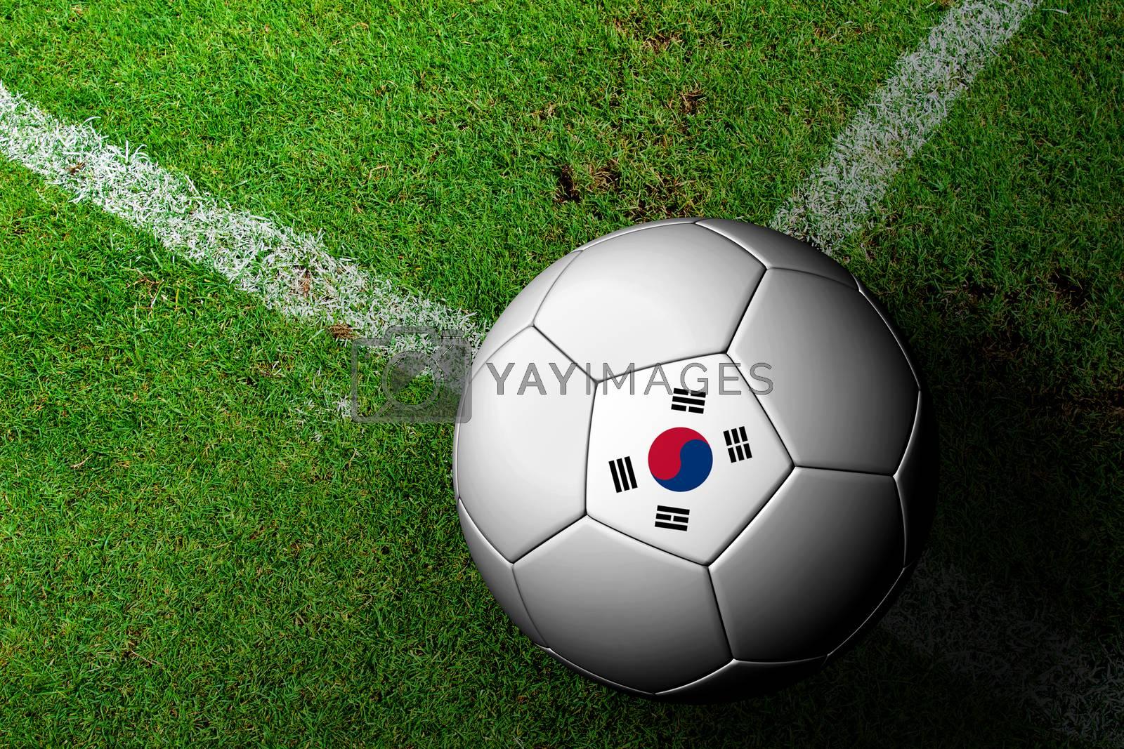 Korea Flag Pattern of a soccer ball in green grass by jakgree