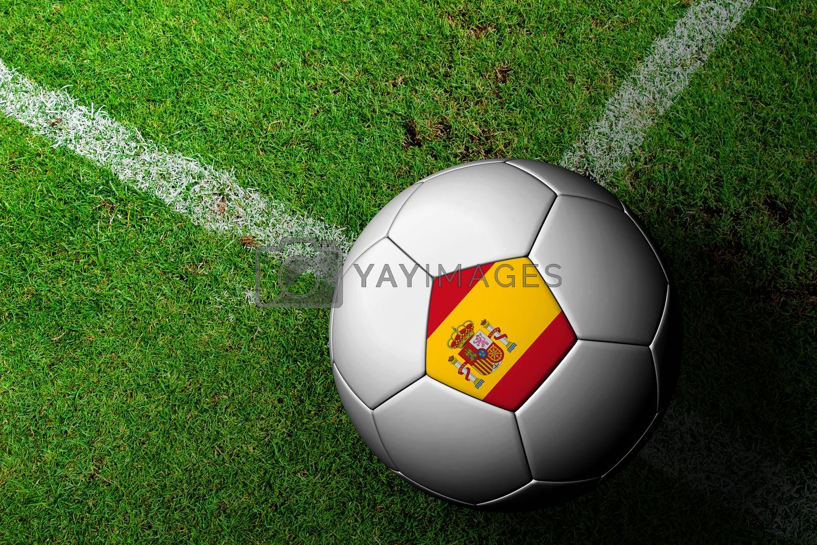 Spain Flag Pattern of a soccer ball in green grass by jakgree