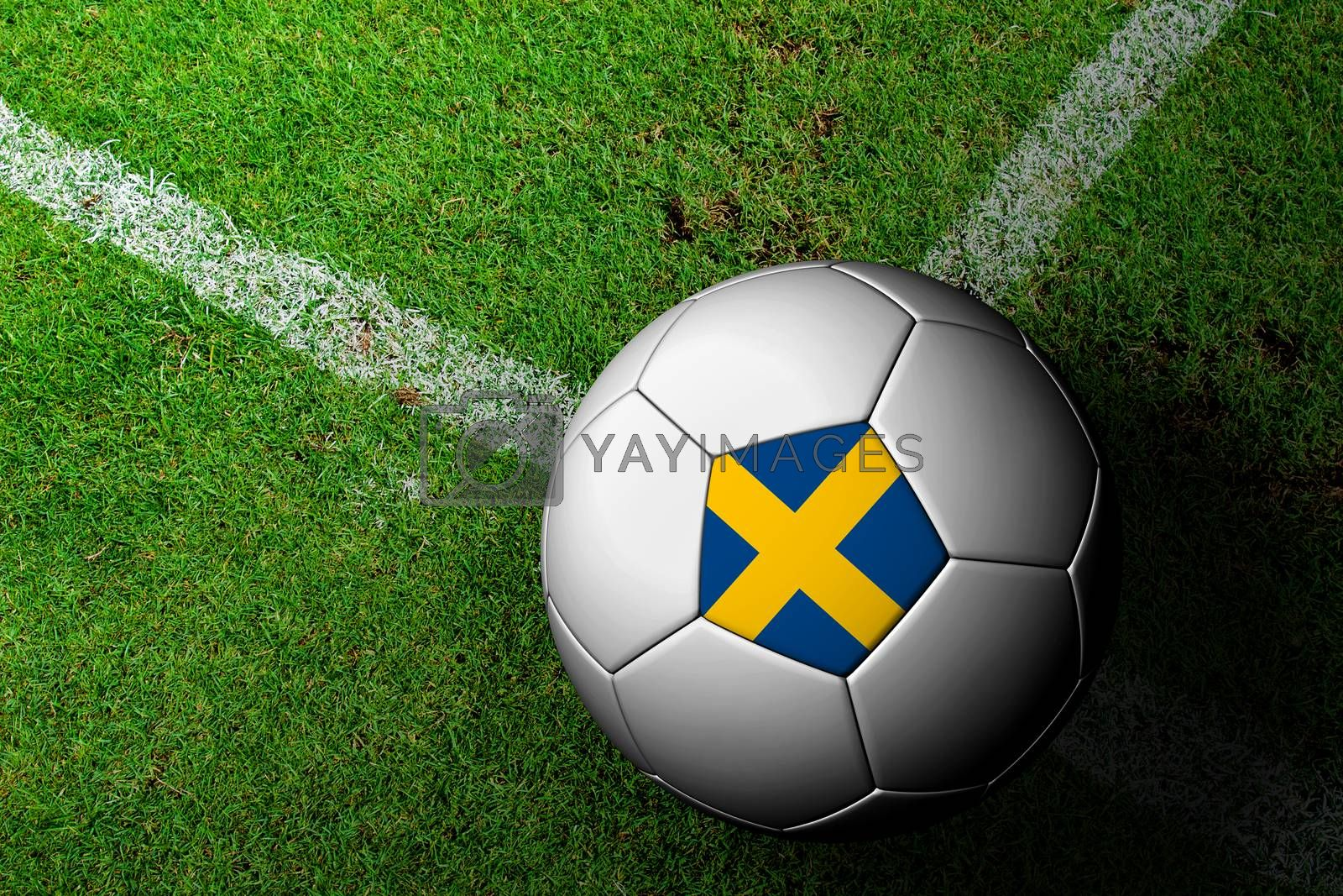 Sweden Flag Pattern of a soccer ball in green grass by jakgree