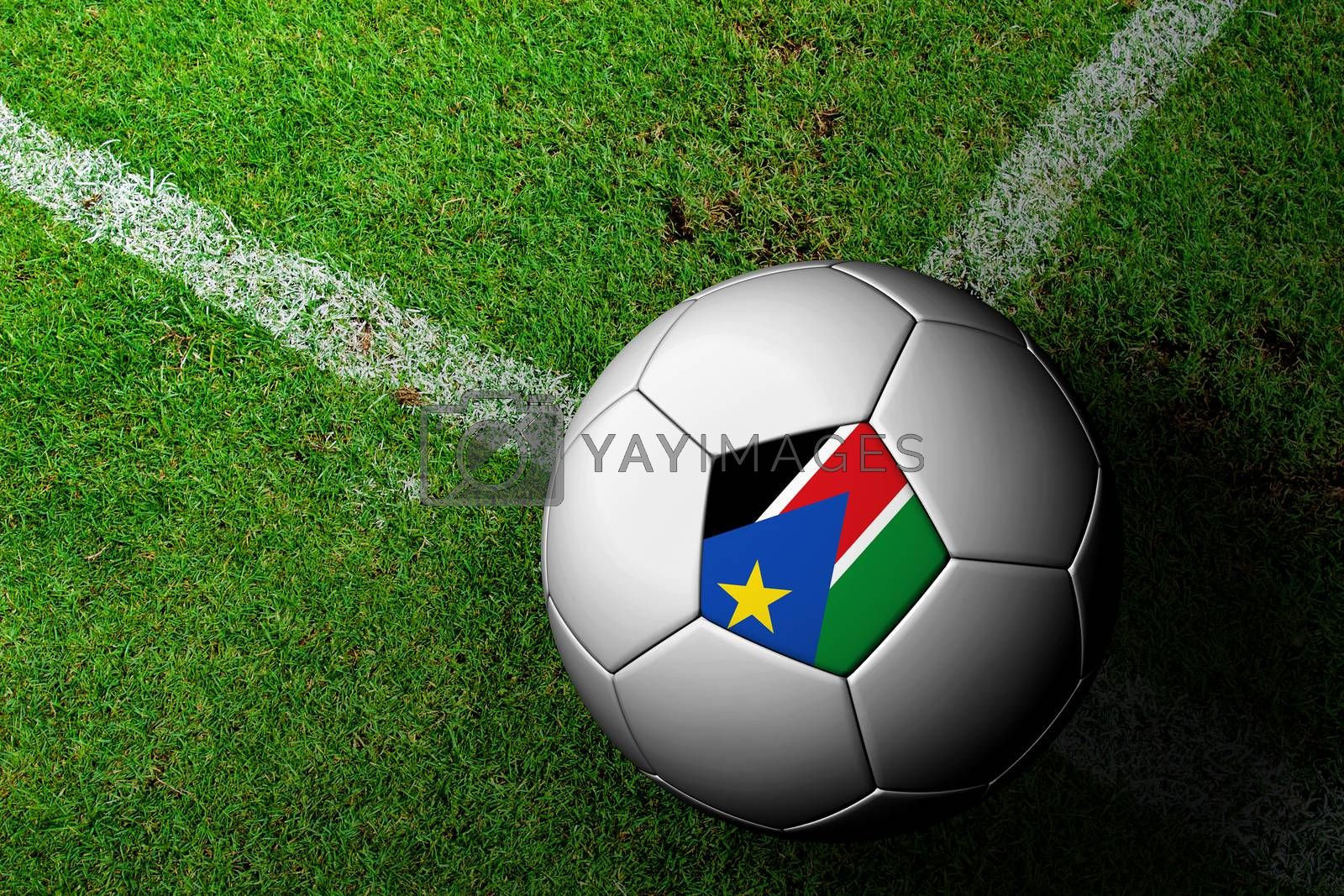 South Sudan Flag Pattern of a soccer ball in green grass by jakgree