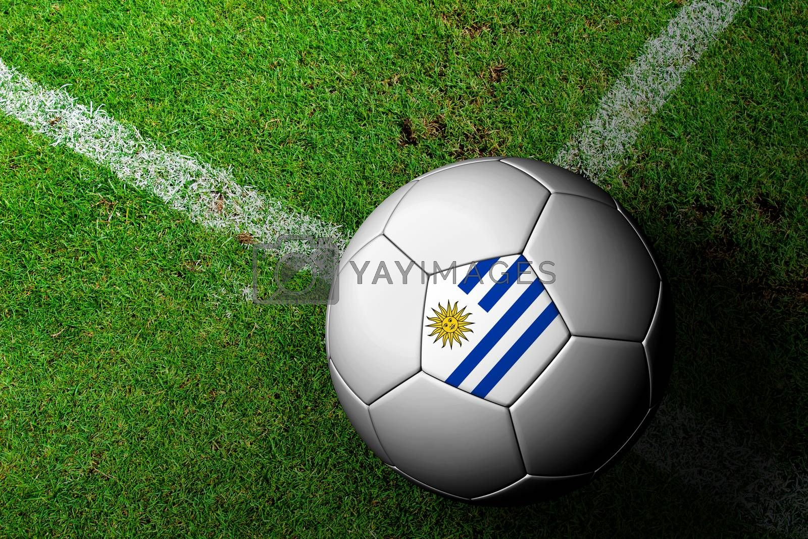 Uruguay Flag Pattern of a soccer ball in green grass by jakgree