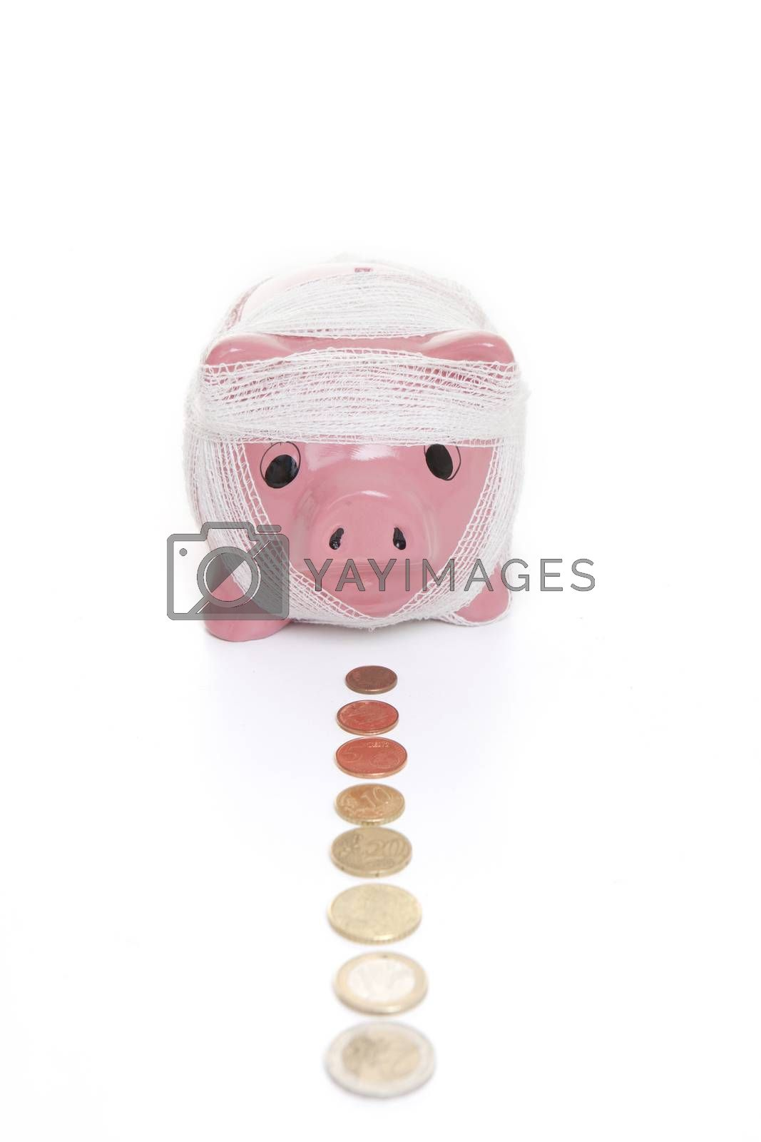 saving in piggy bank for health care concept