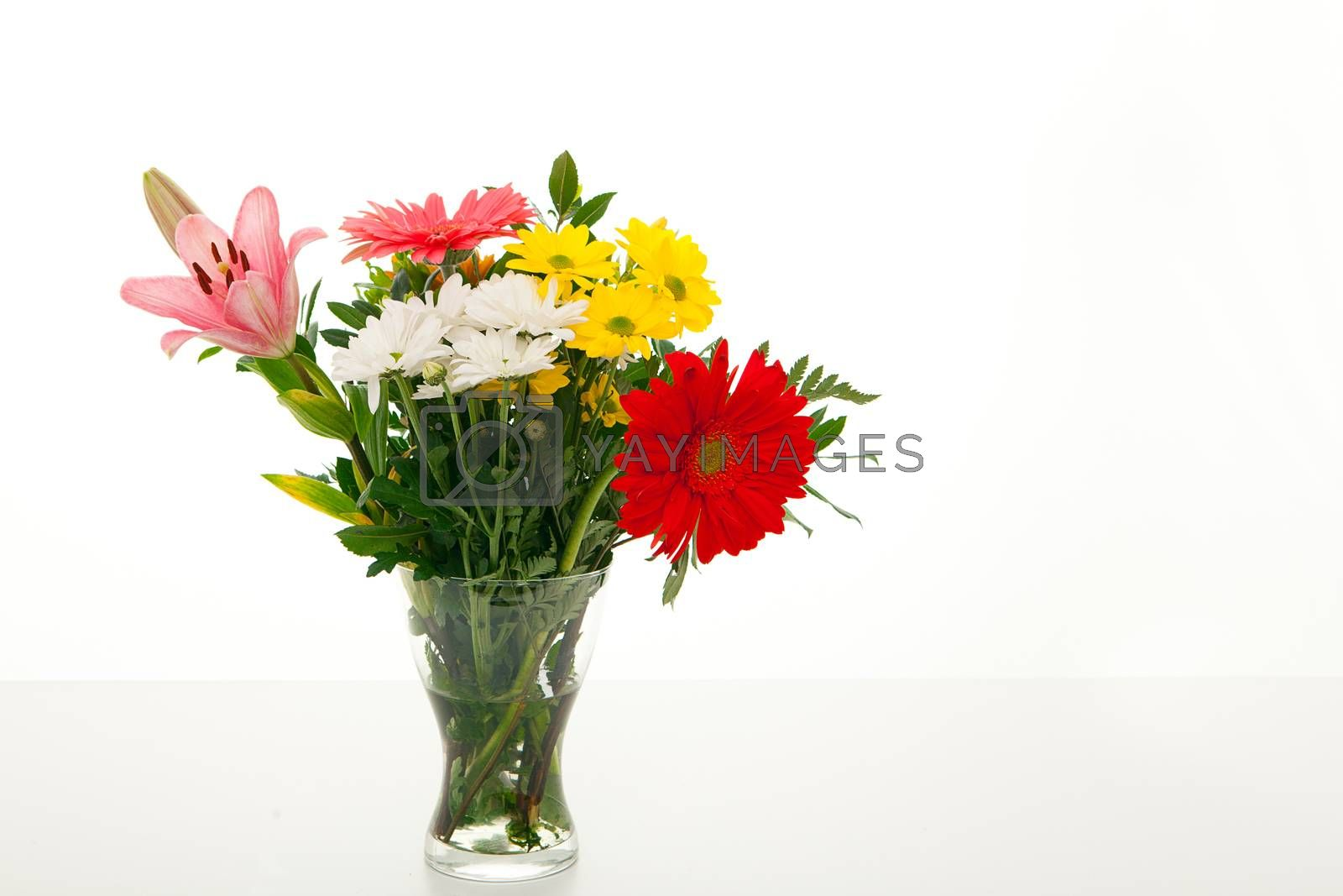 glass vase of isolated flowers
