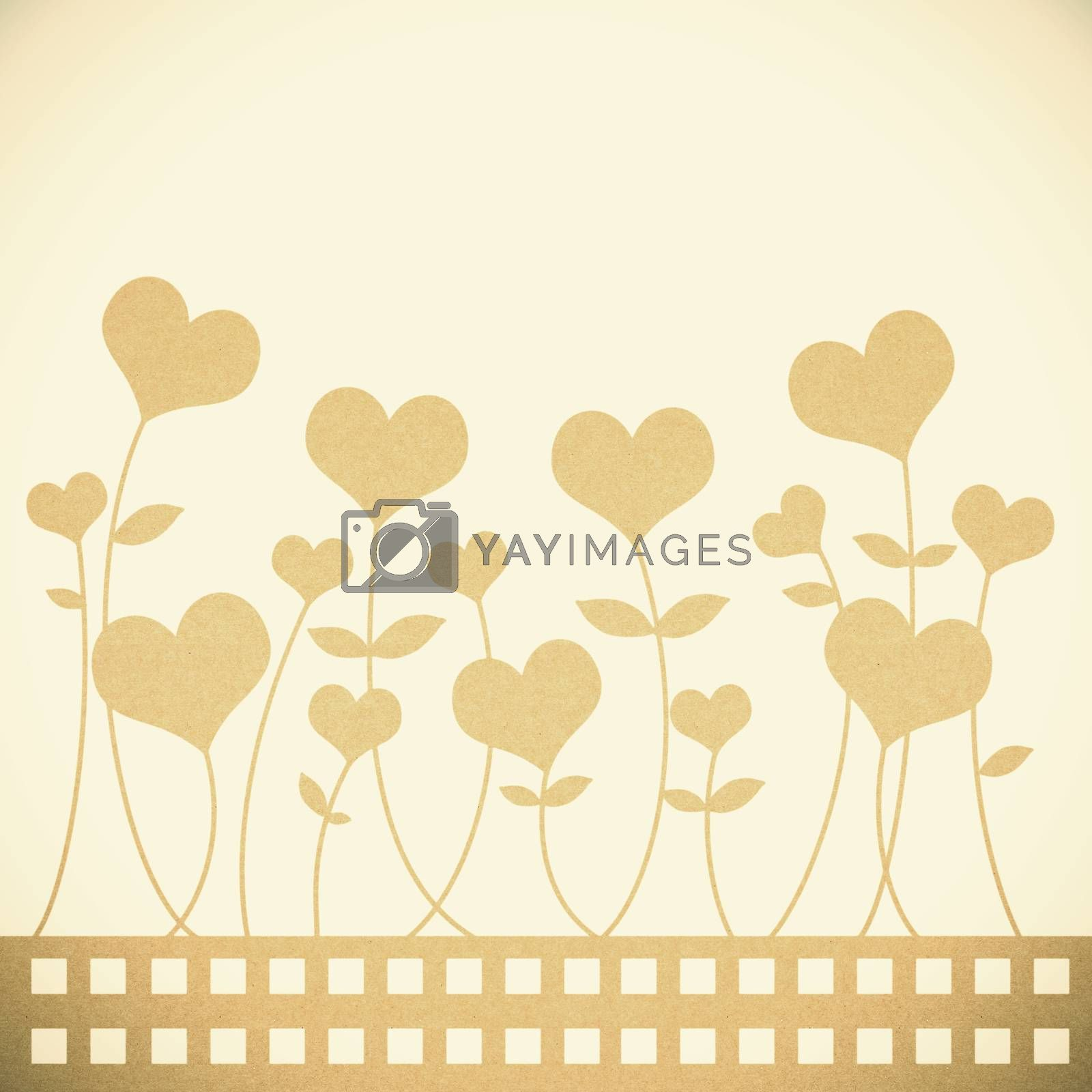 Old Recycle paper valentine flower background for romance, weddi by jakgree