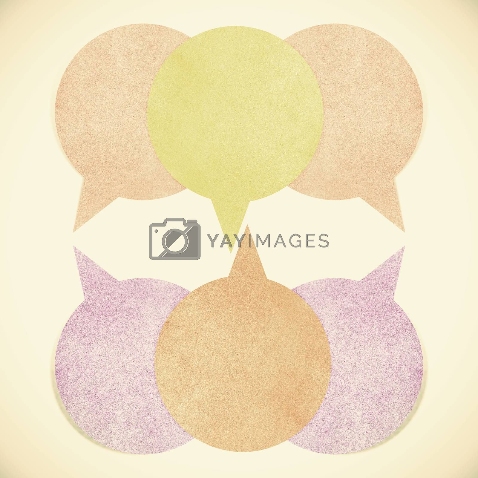 Old Paper texture ,bubble talk tag on white background by jakgree