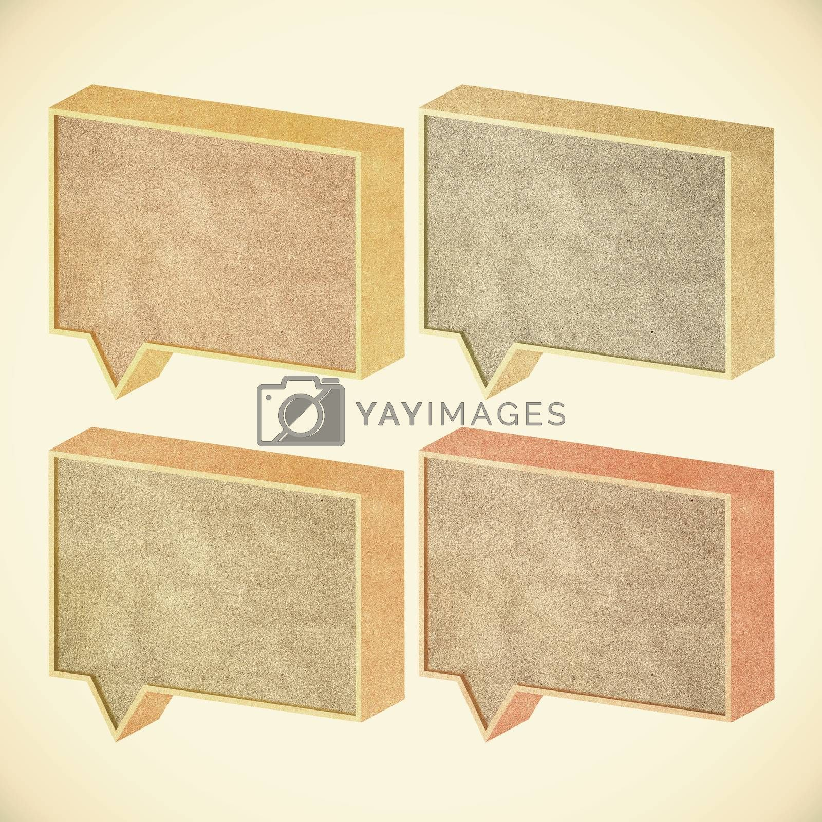 talk tag 3D recycled paper on vintage tone  background by jakgree
