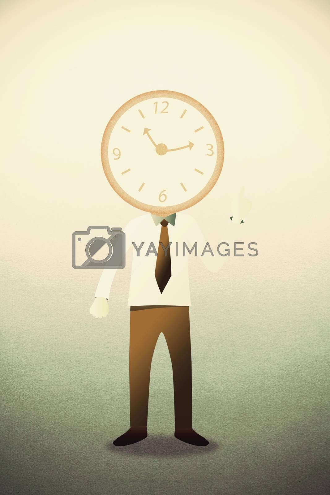 Business man with head clock  by jakgree