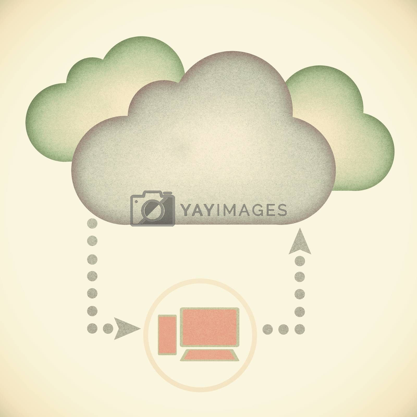 Old Recycle paper, Cloud computing concept. by jakgree