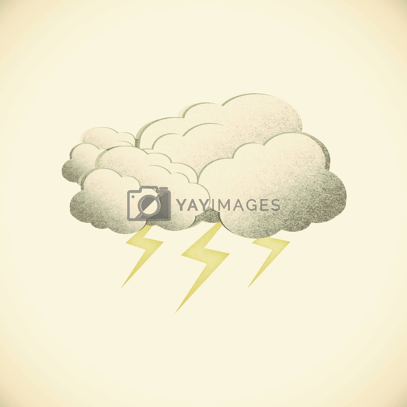 Grunge recycled paper cloud on vintage tone  background by jakgree