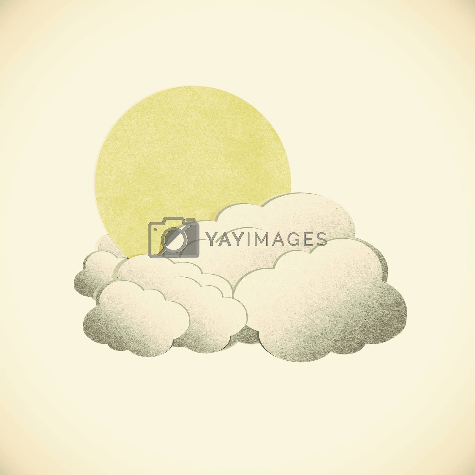 Grunge recycled paper moon and cloud on vintage tone  backgroun by jakgree