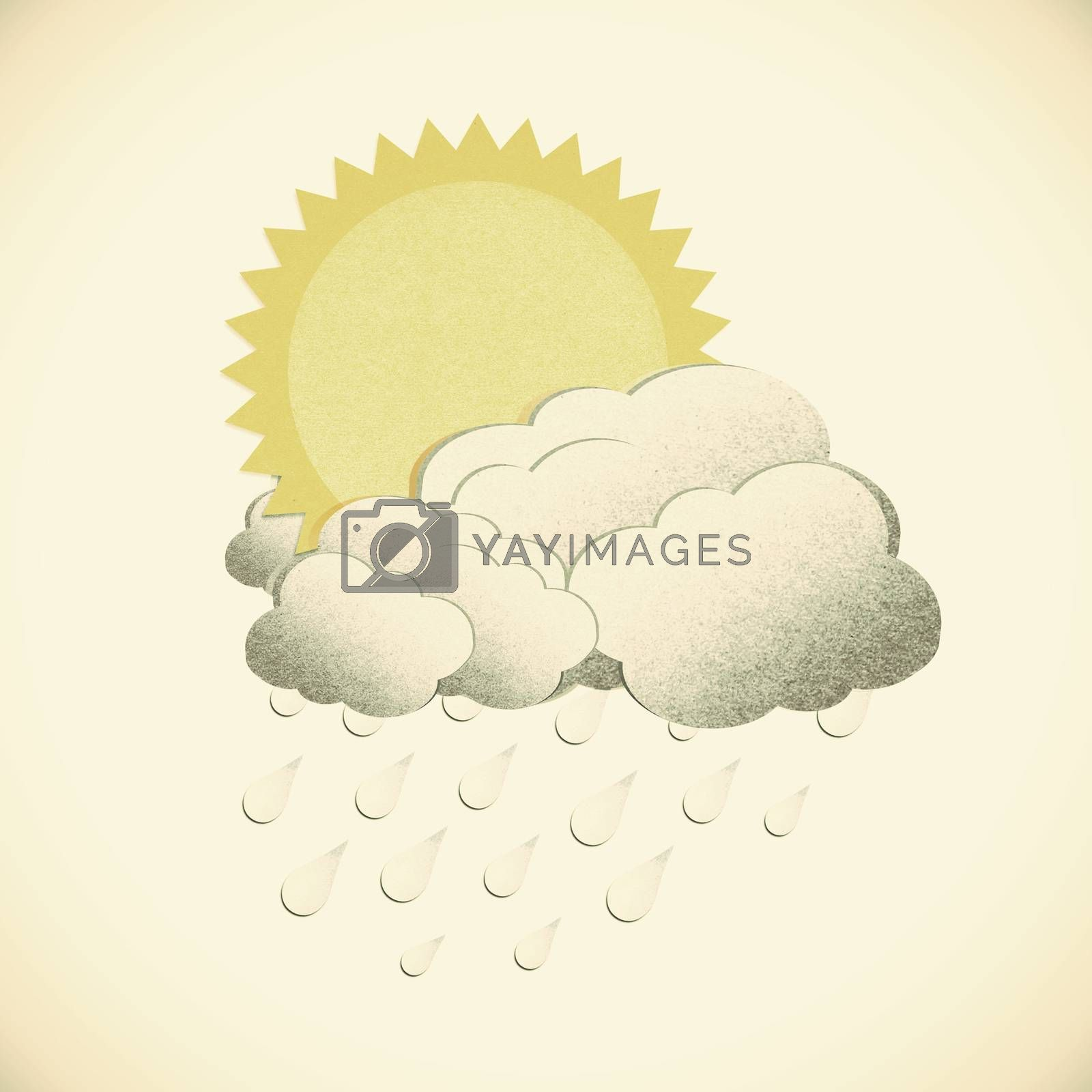 Grunge recycled paper sun with rain on vintage tone  background by jakgree