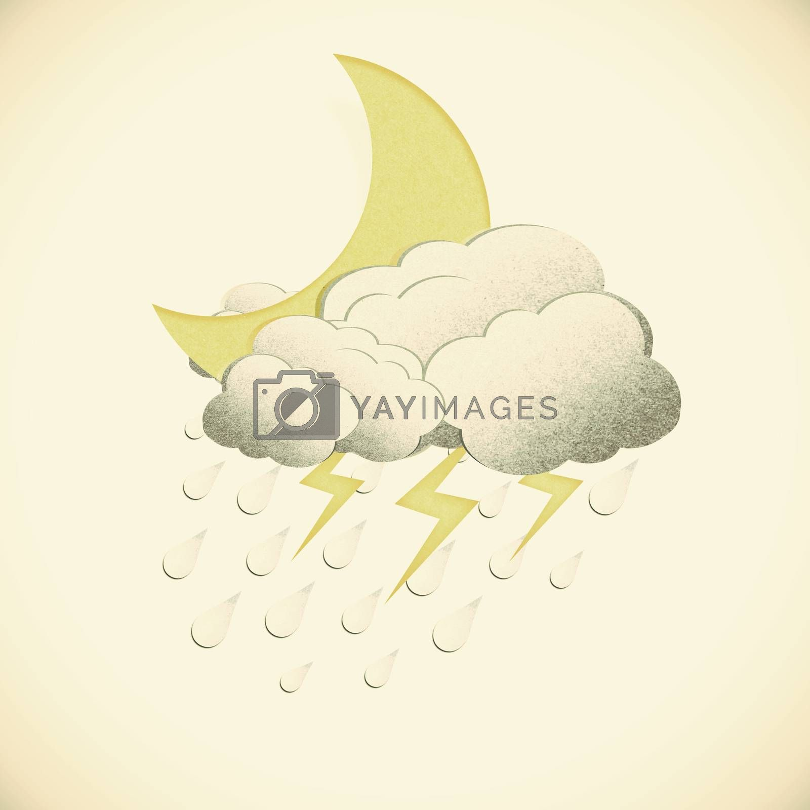 Grunge recycled paper moon with rain on vintage tone  backgroun by jakgree