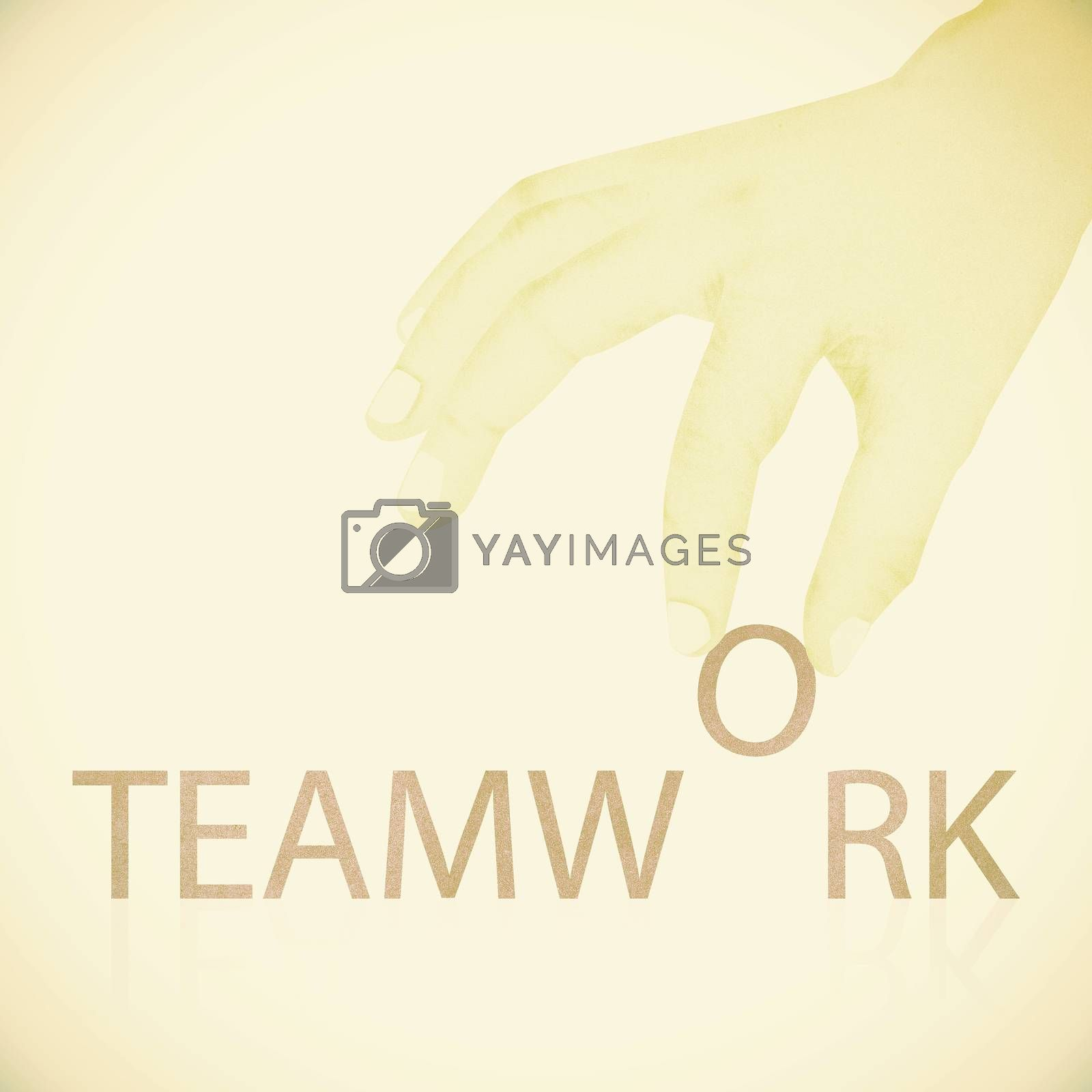 Old Paper texture ,Hand made teamwork word by jakgree