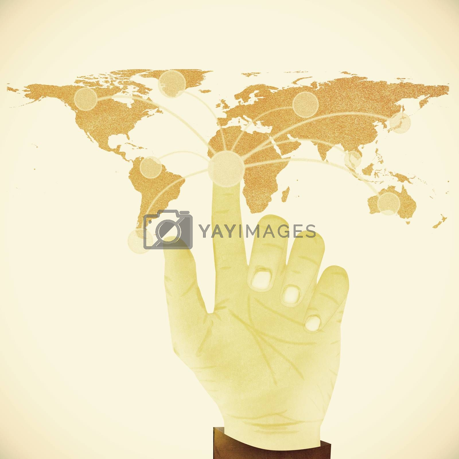 Paper texture ,Hand pressing digital button on world map on whit by jakgree
