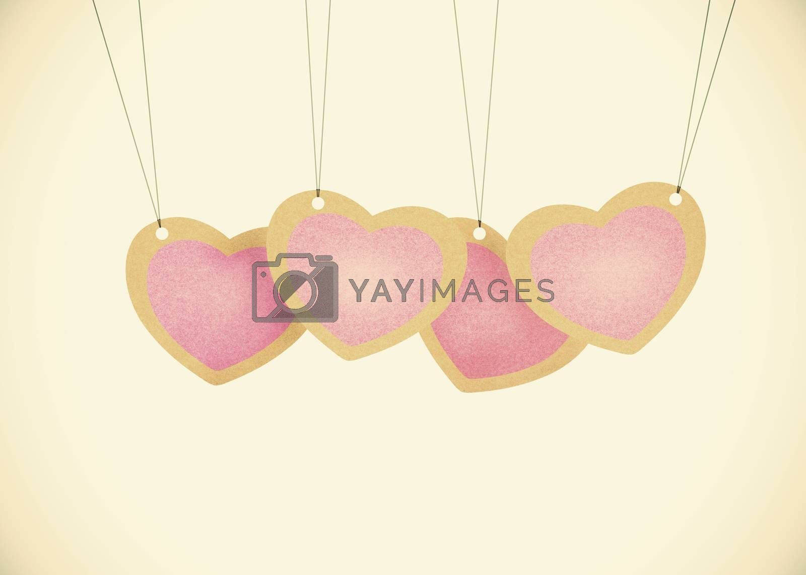 Old Recycle paper Valentine hanging labels.  by jakgree