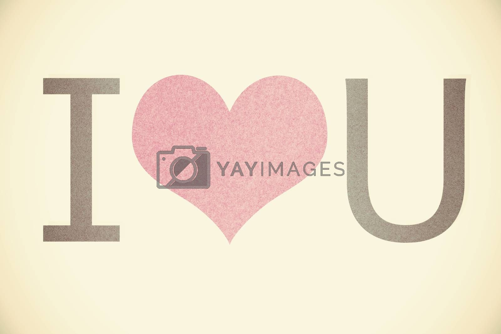 """""""i love you"""" recycled paper on vintage tone background by jakgree"""