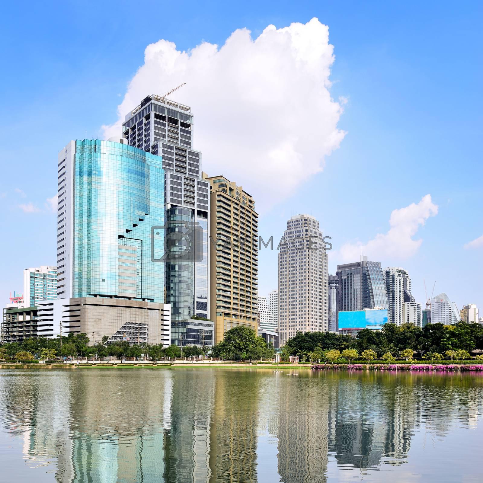 Highrise modern building in Bangkok, Thailand. by jakgree