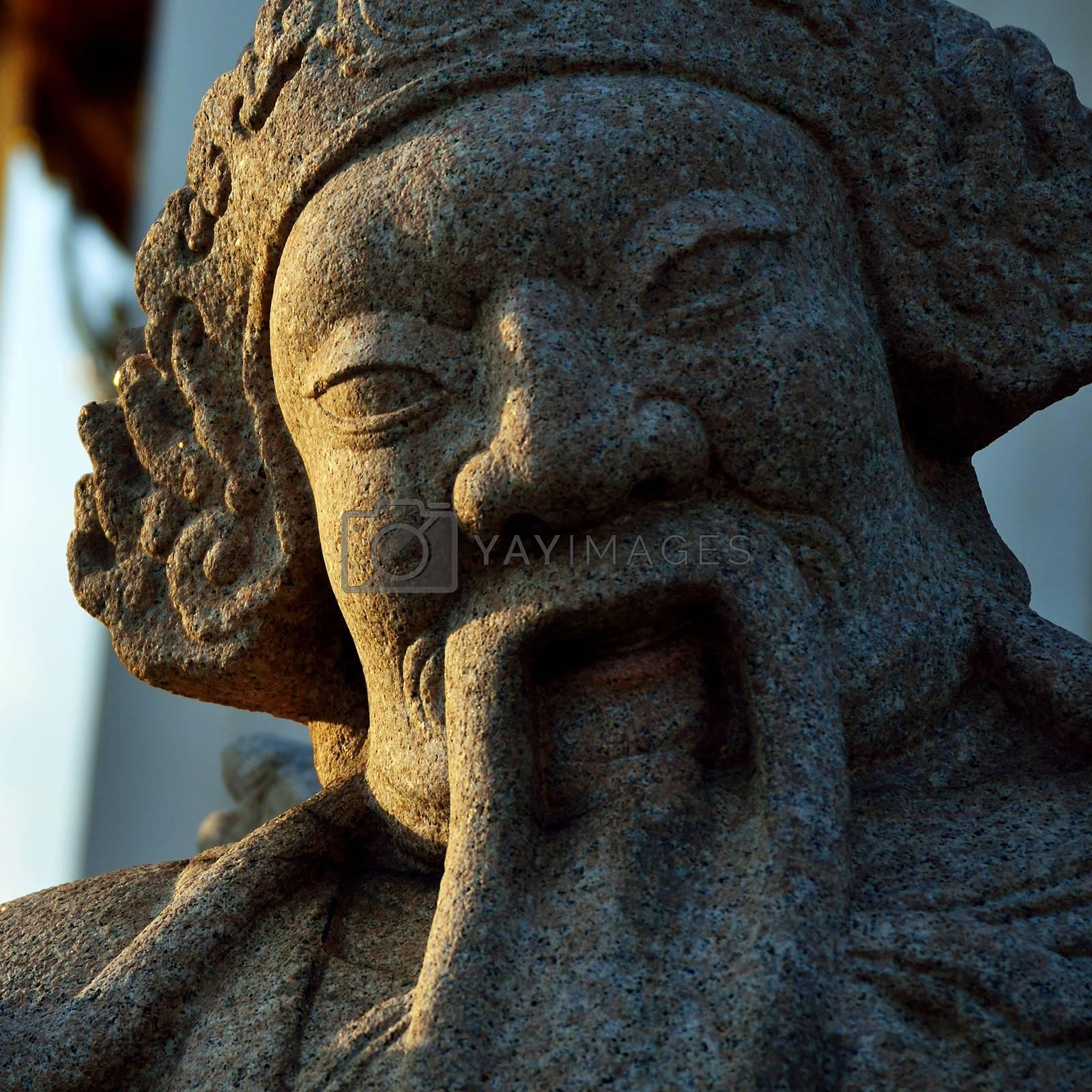 Statue in Wat Sutat temple in Bangkok by jakgree