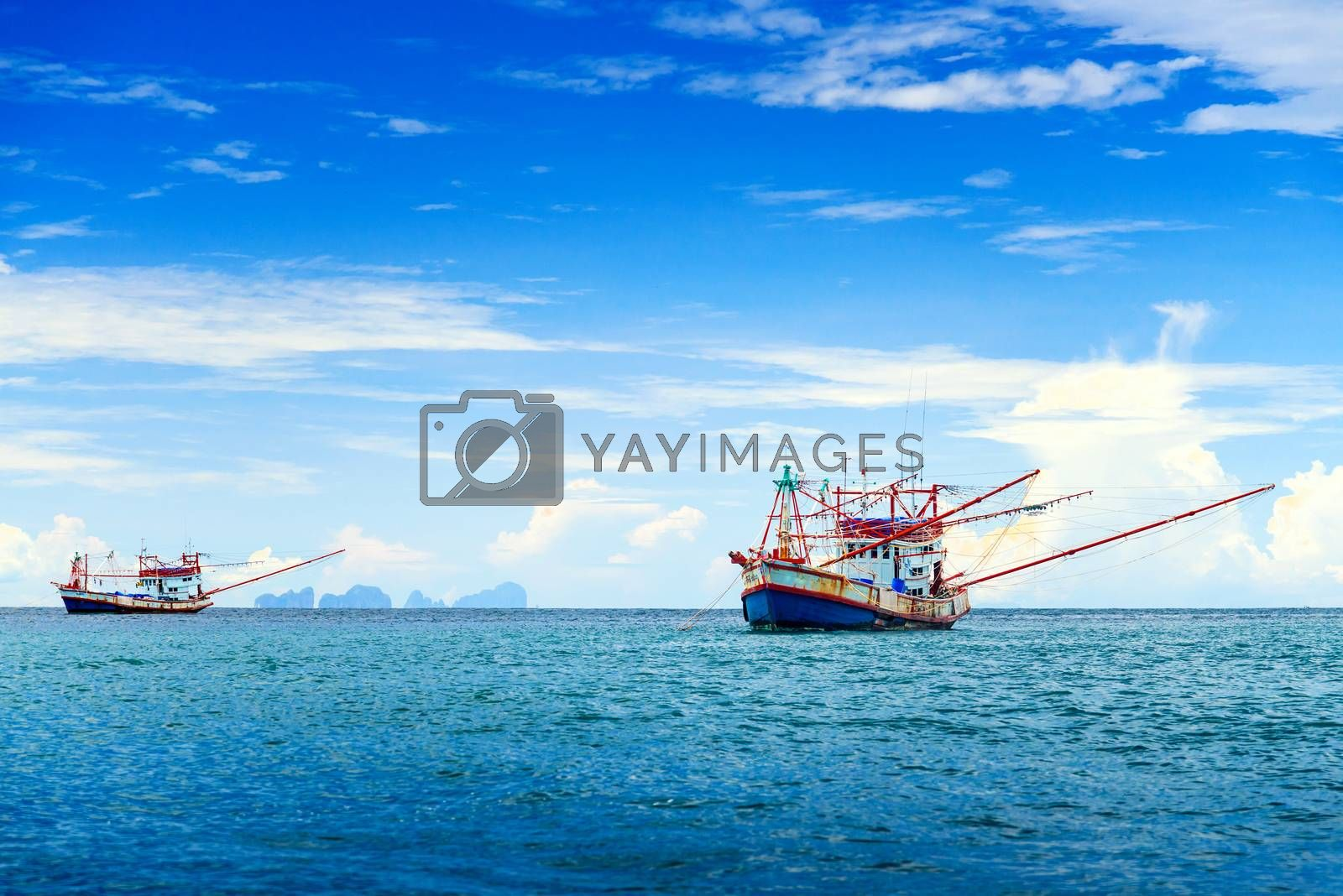 Fishing ship in Andaman sea Thailand by jakgree