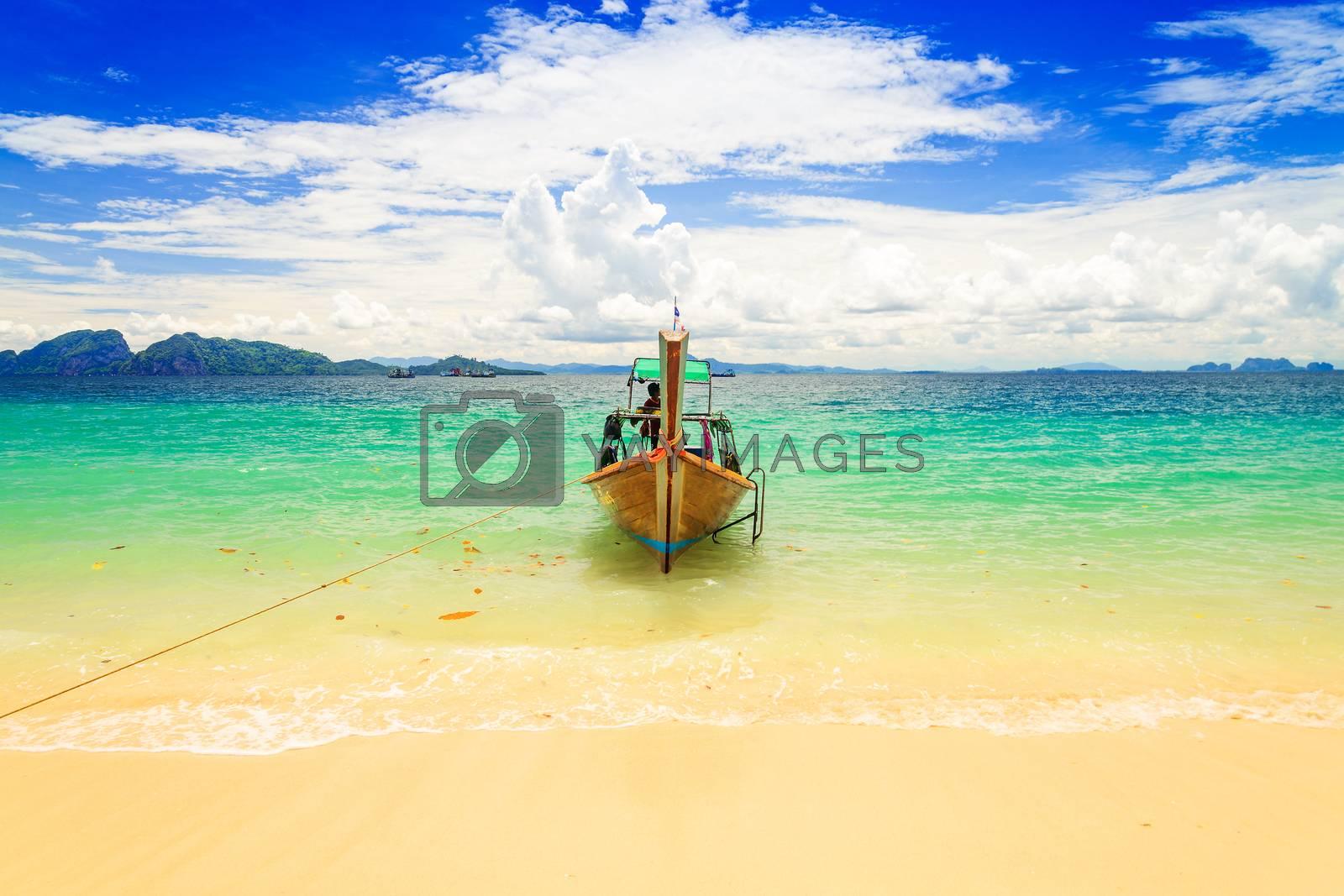 Long tailed boat at Kradan island, Thailand by jakgree