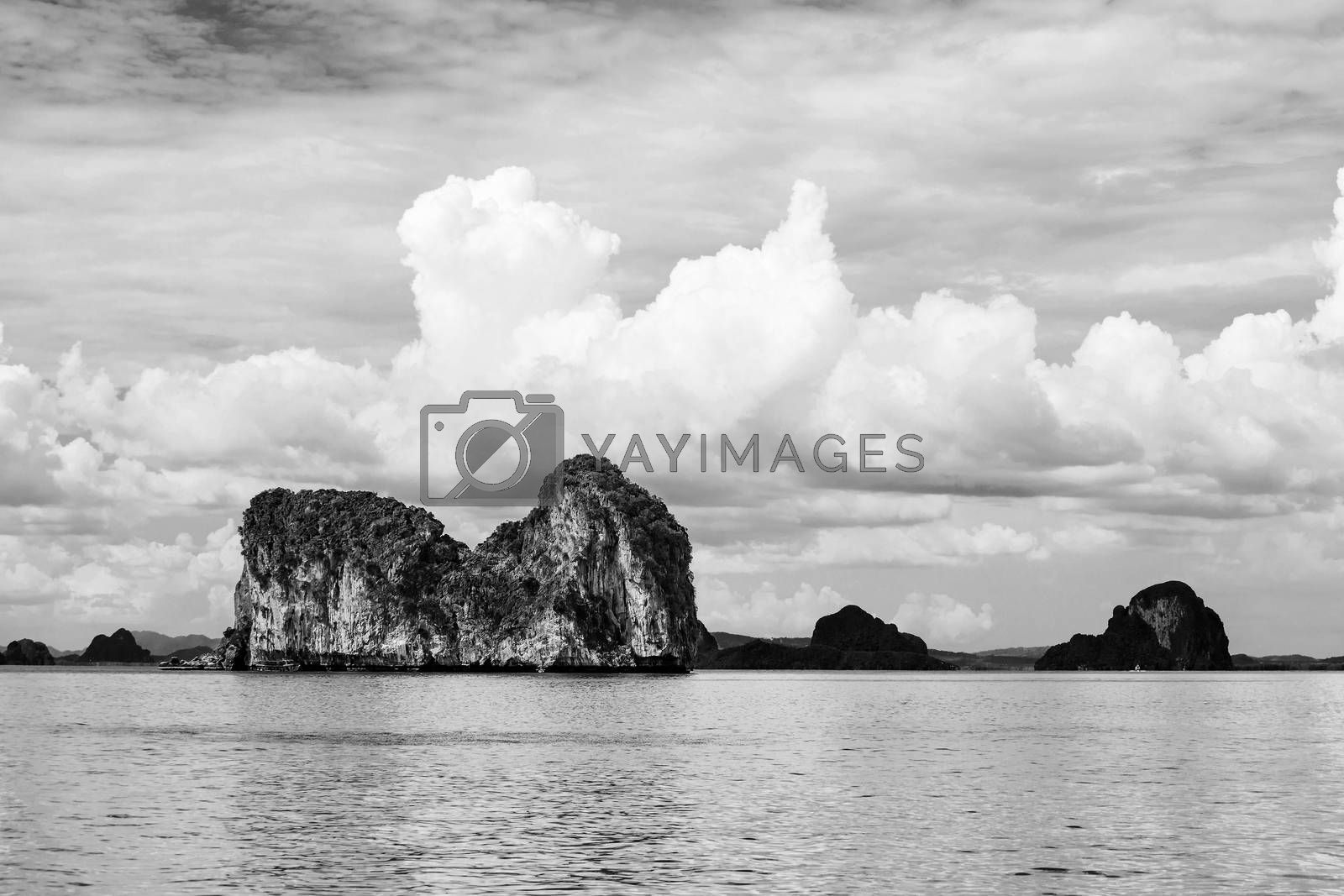Black and white of Stony Island, Trang Province, Thailand by jakgree