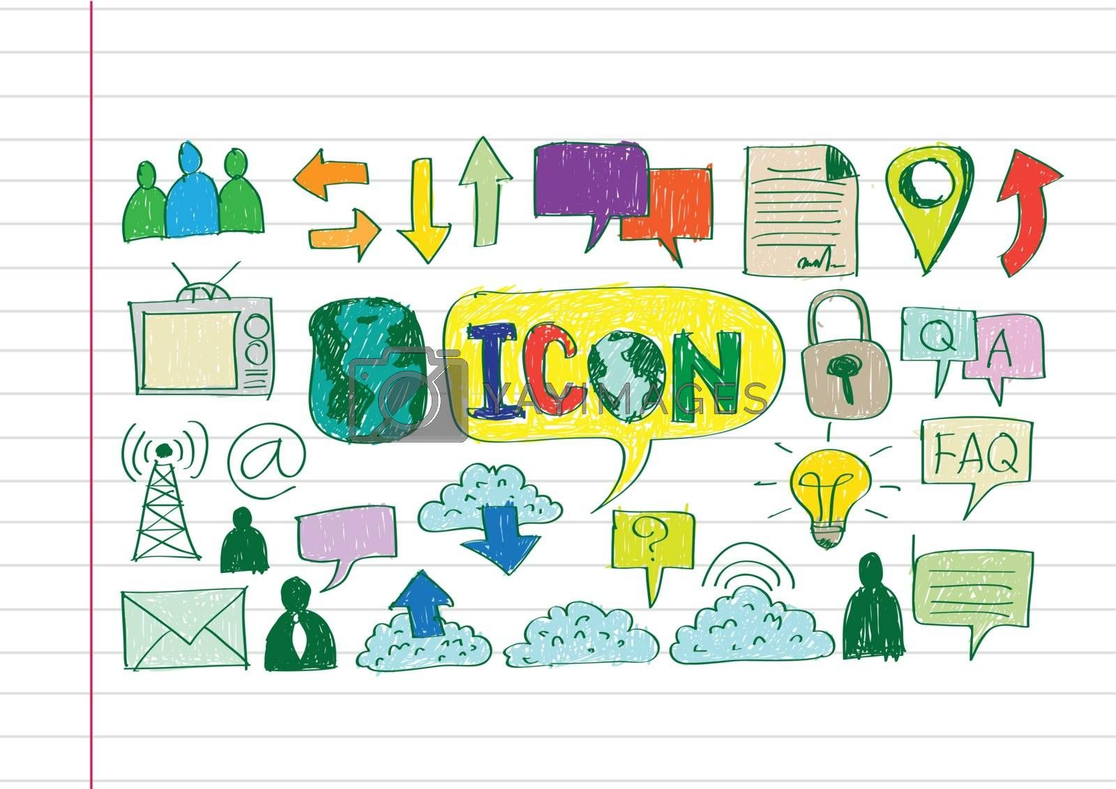 Hand doodle Business icon set idea design by kiddaikiddee