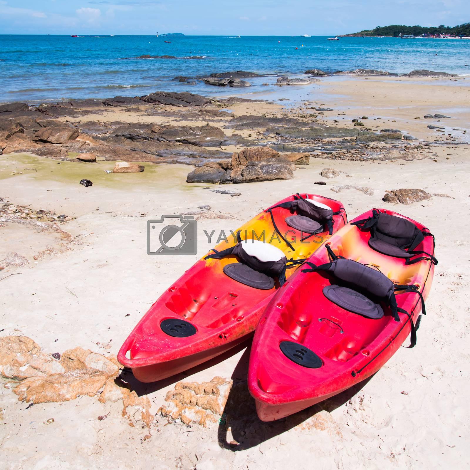 Kayaks on the tropical beach, Mu Koh Samet - Khao Laem Ya National Park, Rayong, Gulf of Thailand coast