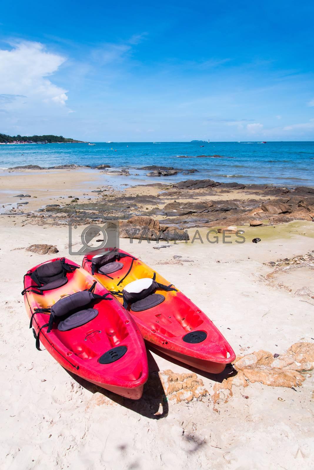 Kayaks on the tropical beach, Mu Koh Samet - Khao Laem Ya Nation by jakgree