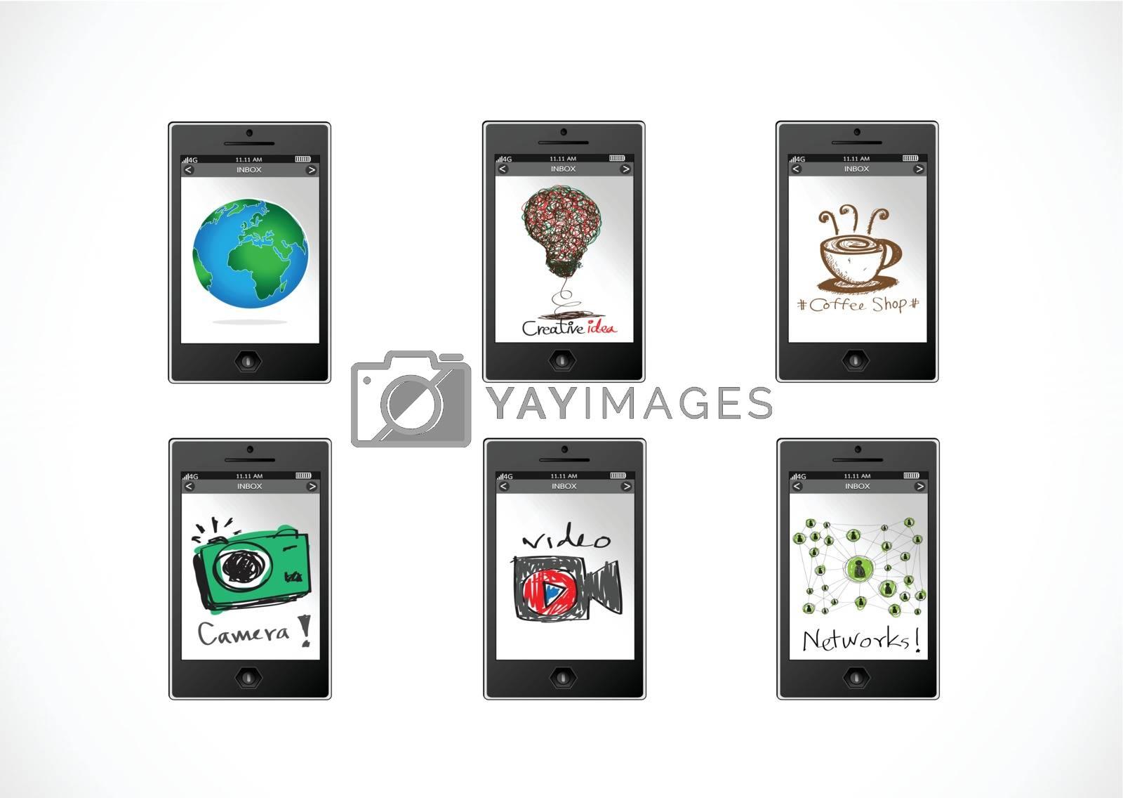 mobile apps concept idea illustration by kiddaikiddee