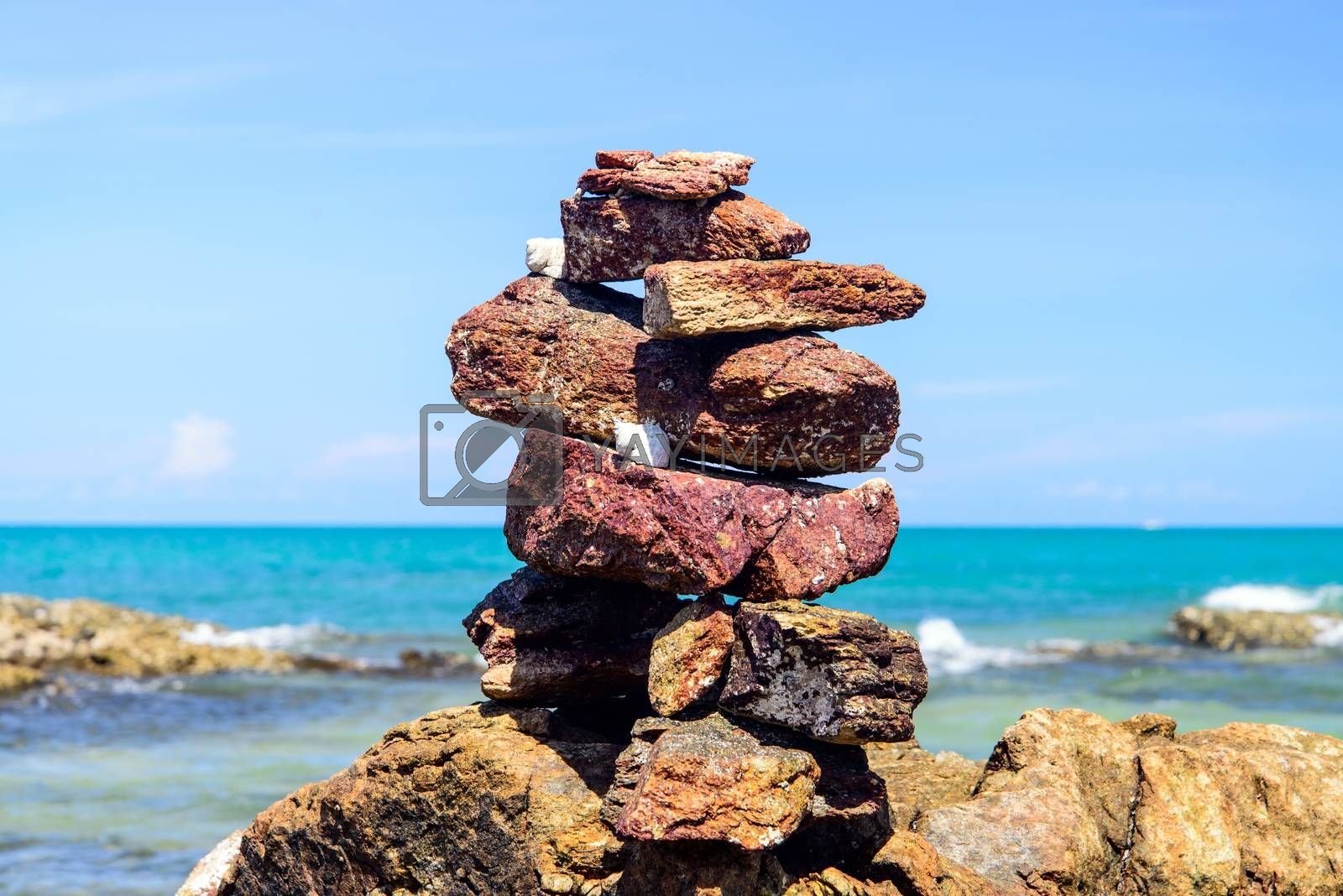 Balancing of pebbles each other on the seacoast  by jakgree