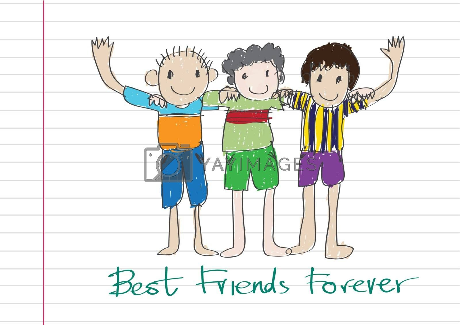 Happy Friendship Day and Best Friends Forever idea design by kiddaikiddee
