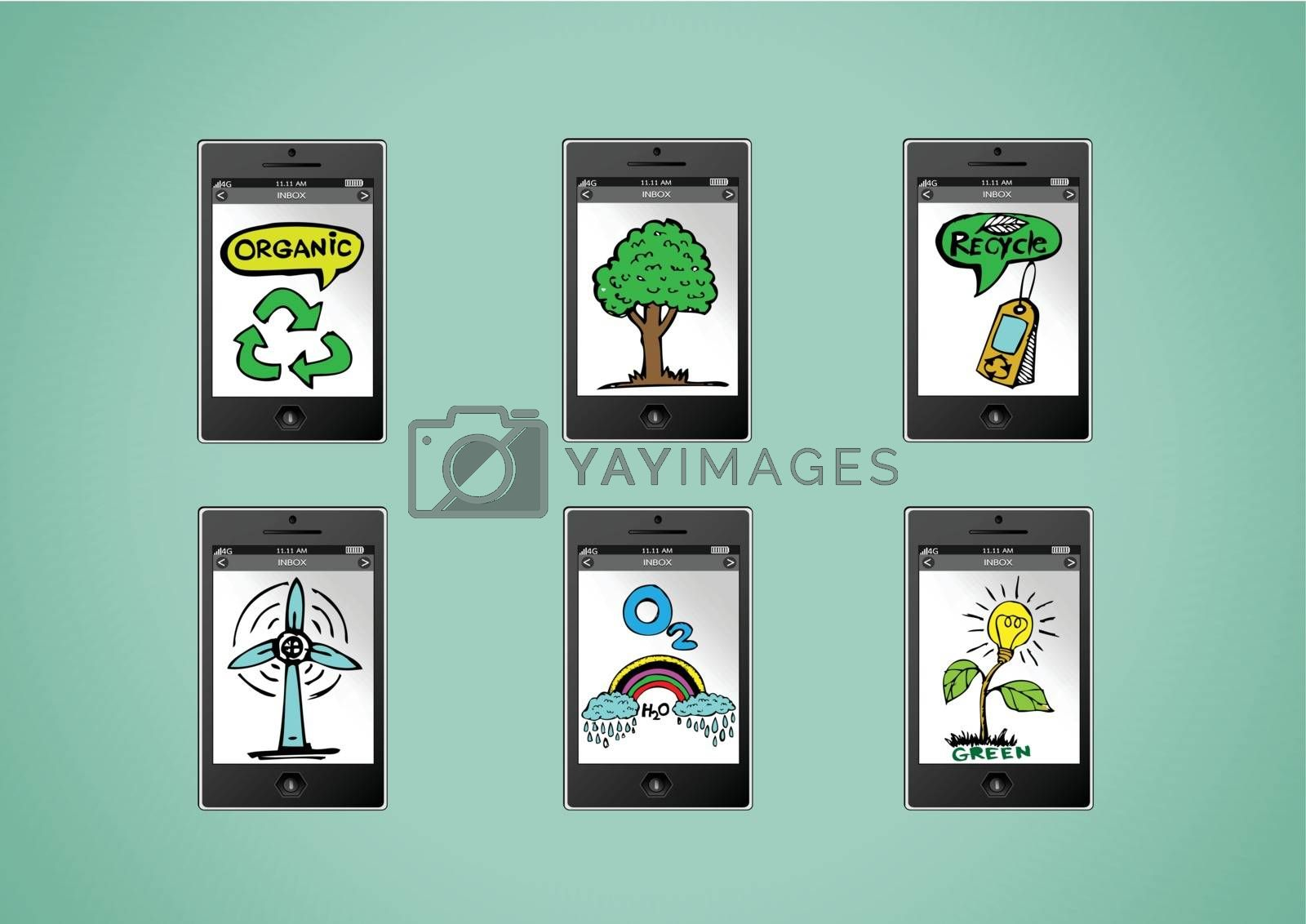 mobile phone apps eco concept idea illustration by kiddaikiddee