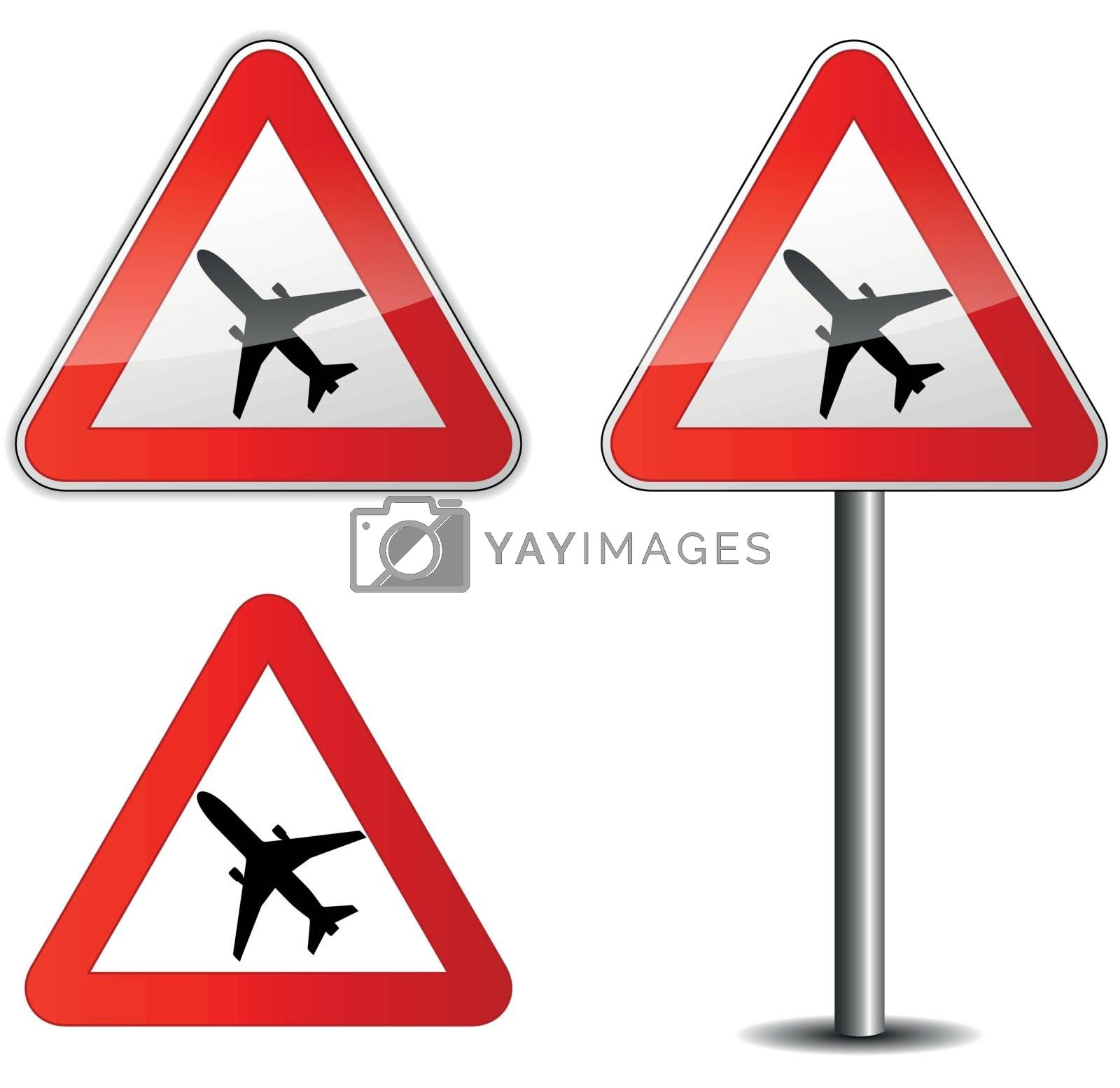 Vector illustration of airplane signpost on white background