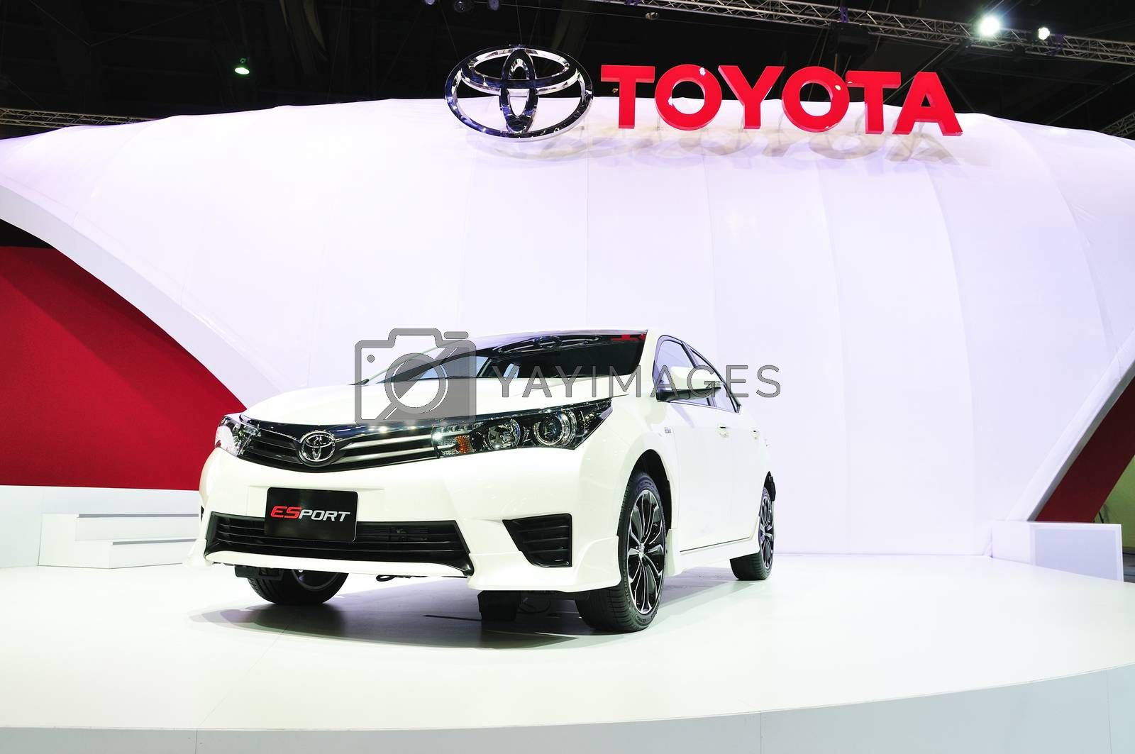 NONTHABURI - MARCH 25: New ToyoTa Altis E-sport on display at Th by thampapon
