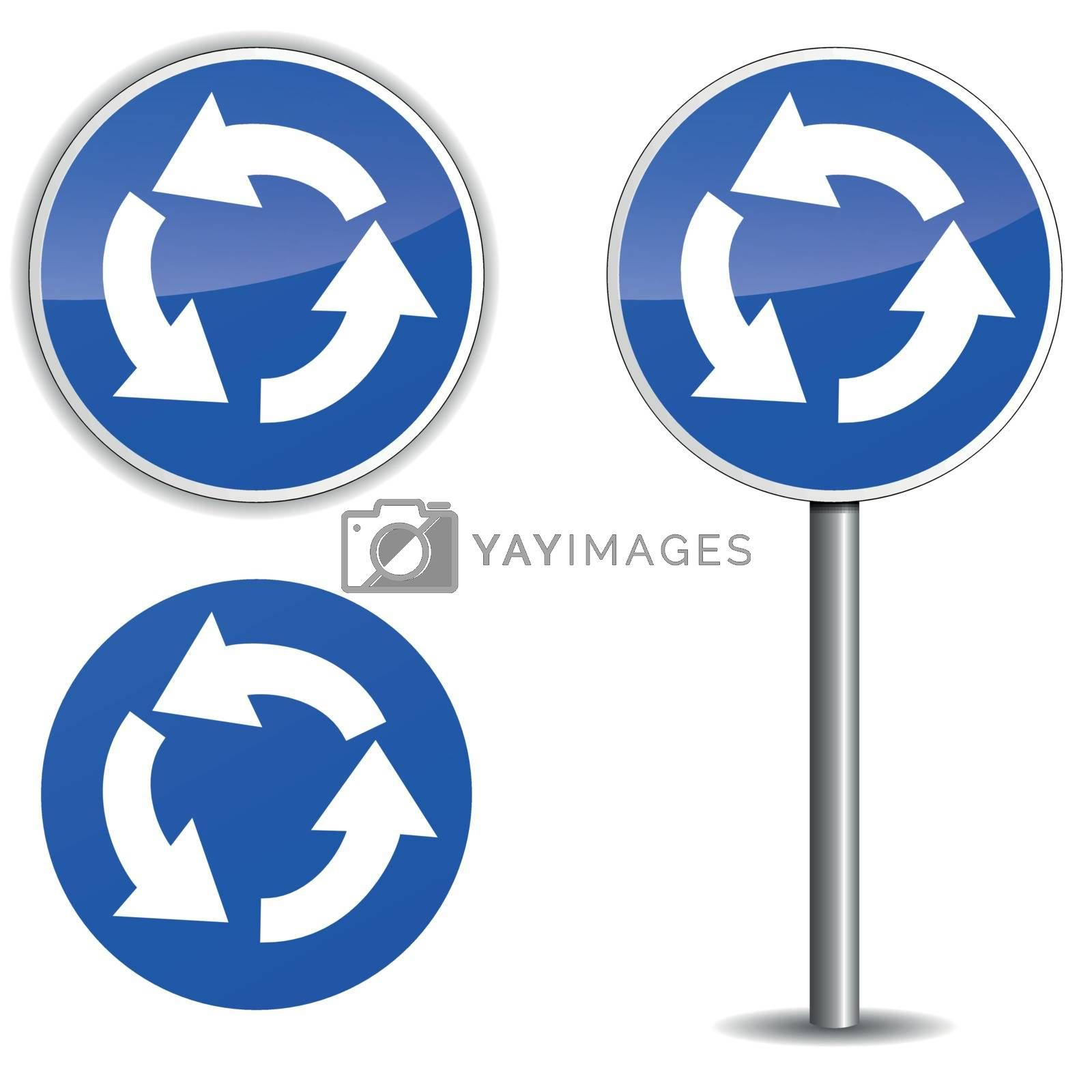 Vector roundabout blue signpost by nickylarson974