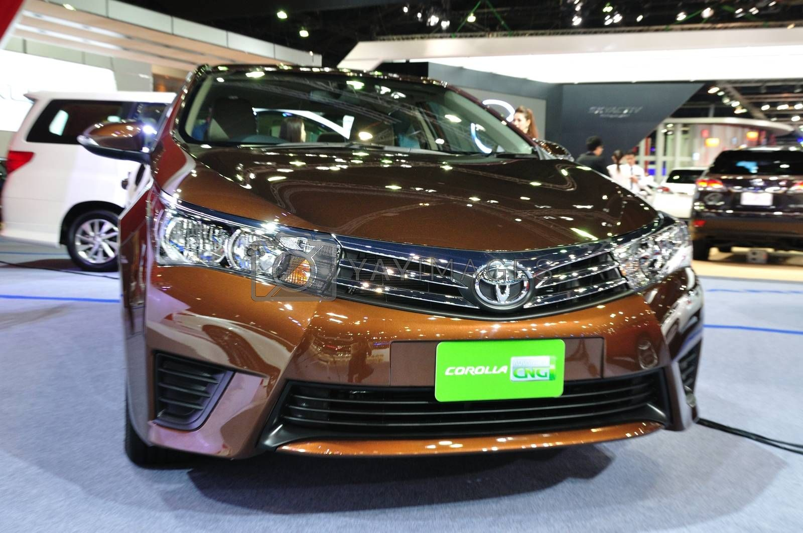 NONTHABURI - MARCH 25: New ToyoTa Altis CNG on display at The 35 by thampapon